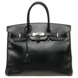 Hermès-Hermès Birkin 35 commande spéciale bicolore en cuir box noir et marron, accastillage en métal argent palladié !-Marron,Noir