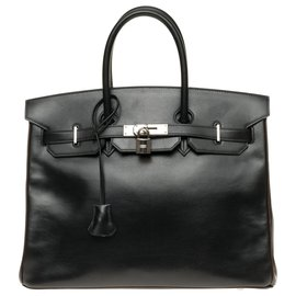 Hermès-HERMES BIRKIN 35 Special order in two-tone leather box black and brown, hardware hardware silver palladium!-Brown,Black