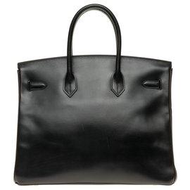 Hermès-HERMES BIRKIN 35 Special order in two-tone leather box black and brown, hardware hardware silver palladium!-Brown,Black