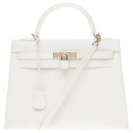 Hermès-hermes kelly 32 saddlebag shoulder strap in white epsom leather, Palladium metal hardware-White
