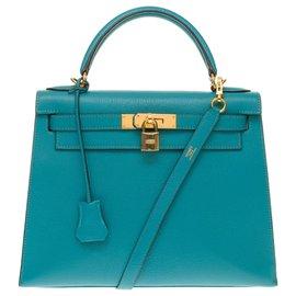 Hermès-Hermès Kelly sellier 28 cm bandoulière en cuir de chèvre Turquoise, garniture plaqué or-Turquoise