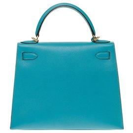 Hermès-Hermès Kelly saddler 28 cm Turquoise goat leather shoulder strap, gold-plated trim-Turquoise