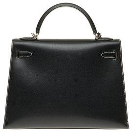 Hermès-Hermès Kelly saddler 32 cm epsom black leather strap with white stitching, Palladium metal hardware-Black,White