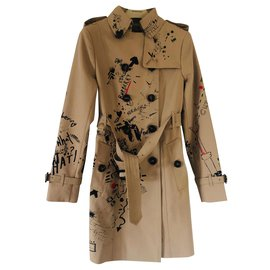 Burberry-trench coat Burberry the Sandringham small doodle print 2019-Caramel