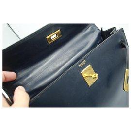 Hermès-Handbags-Navy blue