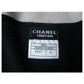 Chanel-CHANEL UNIFORM Top marine manches courtes TM-Bleu Marine