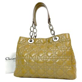 Christian Dior-Dior Beige Cannage Quilted Patent Leather Small Dior Soft Tote-Beige