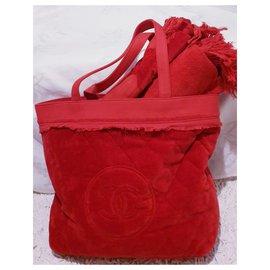 Chanel-Lot cabas Chanel + serviette neuf-Rouge