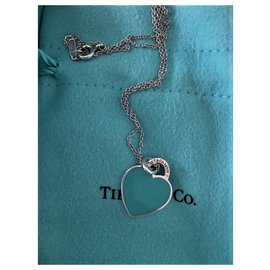 Tiffany & Co-Beautiful Chain and  1 Silver Heart and Email Blue turquoise Brand Tiffany-Blue