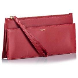 Yves Saint Laurent-Pochette YSL en cuir rouge-Rouge