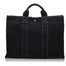 Hermès-Hermes Black cabas MM-Noir