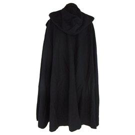 Hanae Mori-Hanae Mori Cape en laine noire avec capuche amovible-Noir