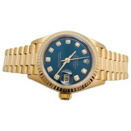 "Rolex-Montre Rolex ""Datejust"" en or jaune sur or jaune, diamants.-Autre"
