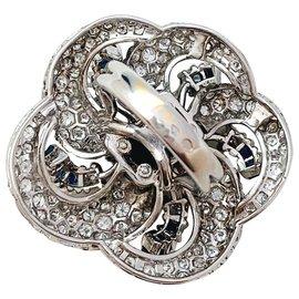 inconnue-Bague joaillerie tourbillon en or blanc, saphir et diamants.-Autre
