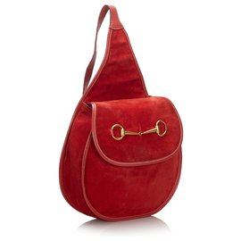 Gucci-Sac à dos en daim rouge Horsebit Gucci-Rouge