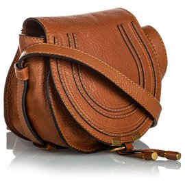 Chloé-Chloe Brown Leather Marcie Crossbody Bag-Brown