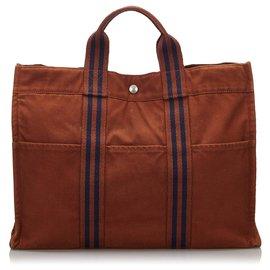 Hermès-Hermes Brown cabas MM-Marron,Bleu,Bleu foncé