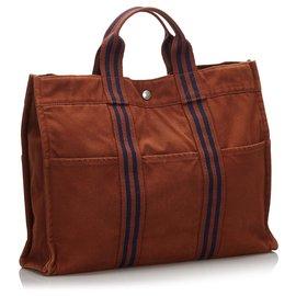 Hermès-Hermes Brown Fourre Tout MM-Brown,Blue,Dark blue