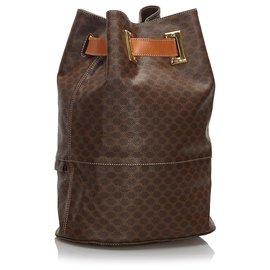 Céline-Celine Brown Macadam Backpack-Brown