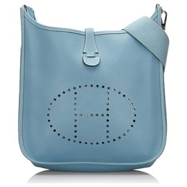 Hermès-Hermes Blue Clemence Evelyne II PM-Bleu,Bleu clair