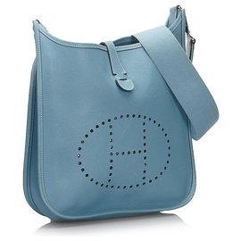 Hermès-Hermes Blue Clemence Evelyne II PM-Blue,Light blue