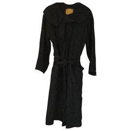 Lanvin-Manteau LANVIN en laine et soie-Noir