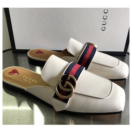 Gucci-GUCCI MULES PRINCETOWN NEW SLIPPERS-Blanc