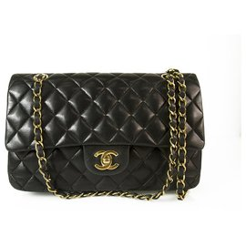 Chanel-CHANEL Couro de cordeiro preto Classic Flap Aleta Small Bag Hardware de ouro-Preto