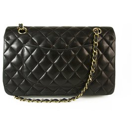Chanel-CHANEL Black Lambskin Leather Classic lined Flap Small Bag Gold hardware-Black