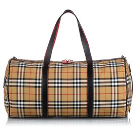 Burberry-Burberry Brown House Check Canvas Barrel Bag-Brown,Multiple colors,Beige