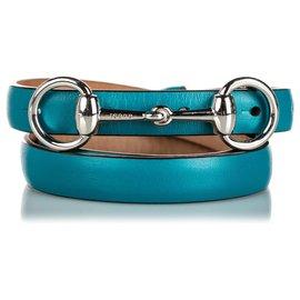 Gucci-Gucci Ceinture en cuir bleu Horsebit-Argenté,Bleu