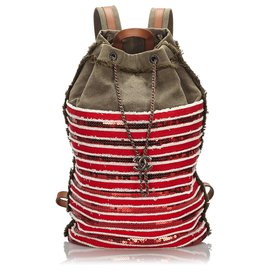 Chanel-Chanel Red Canvas Cubano Trip Backpack-Red,Green,Dark green