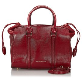 Burberry-Burberry Red Leather Dinton Satchel-Red,Dark red
