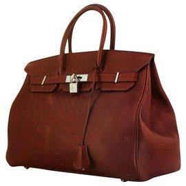 Hermès-Sac Birkin 35 couleur BORDEAU finition argent excellent état-Bordeaux
