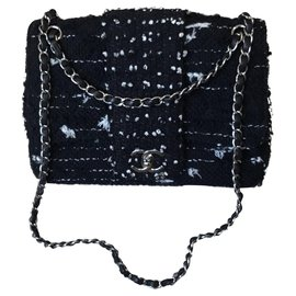 Chanel-Tweed classic handbag-Black