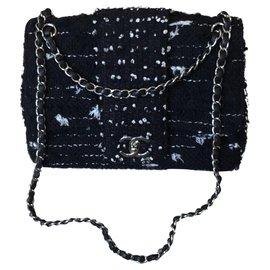 Chanel-Sac à main Tweed classique-Noir