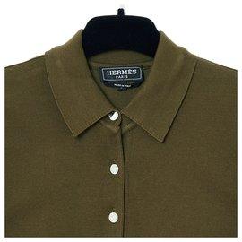 Hermès-khaki polo36-Khaki
