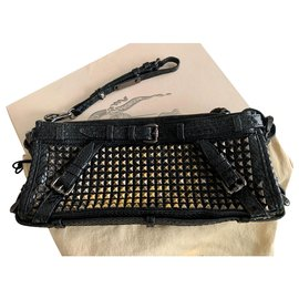 Burberry-Genuine glossy python leather clutch with metal studs-Black