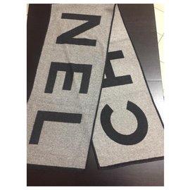 Chanel-CHANEL SCARF ECHARPE BRAND NEW CACHEMIRE SILK-Grey