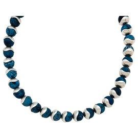 Hermès-Collier Hermès en argent, jaspe bleu.-Autre