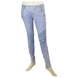 Balmain-Jeans Biker en cuir d'agneau bleu Balmain taille 36 Pantalons - pantalons zips aux poignets-Bleu clair