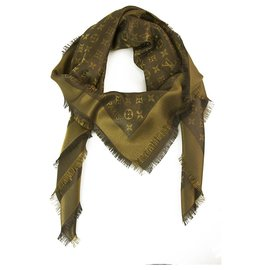 Louis Vuitton-Louis Vuitton monogram Shine brown with gold shawl weaved jacquard silk M75122-Brown