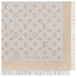 Louis Vuitton-Louis Vuitton monogram Shine Greige with gold shawl weaved jacquard silk M75121-Golden,Grey