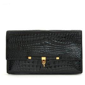 Hermès-PALONNIER BLACK CROCO-Black