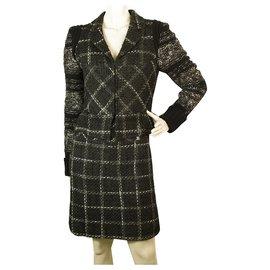 Chanel-Chanel noir 06Une veste de jupe en mélange de laine gris blanc 34-36-Noir,Blanc,Gris
