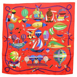 Hermès-Hermès Silk Scarf Carre 90-Red