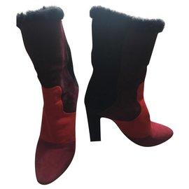 Tamara Mellon-Furry boots-Dark red