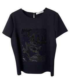 Dior-Diot T-shirt à paillettes taille M-Bleu foncé