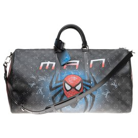 """Louis Vuitton-Louis Vuitton Keepall 55 eclipse with custom shoulder strap """"SPIDERBAG"""" by PatBo-Black,Red"""
