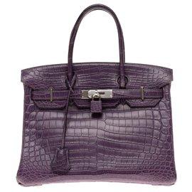 Hermès-Exceptionnel Hermès Birkin 30 en Crocodile Niloticus Améthyste mat, garniture en métal palladié en excellent état-Violet